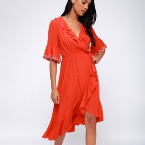 Coral red Moon River dress NWT M lulus